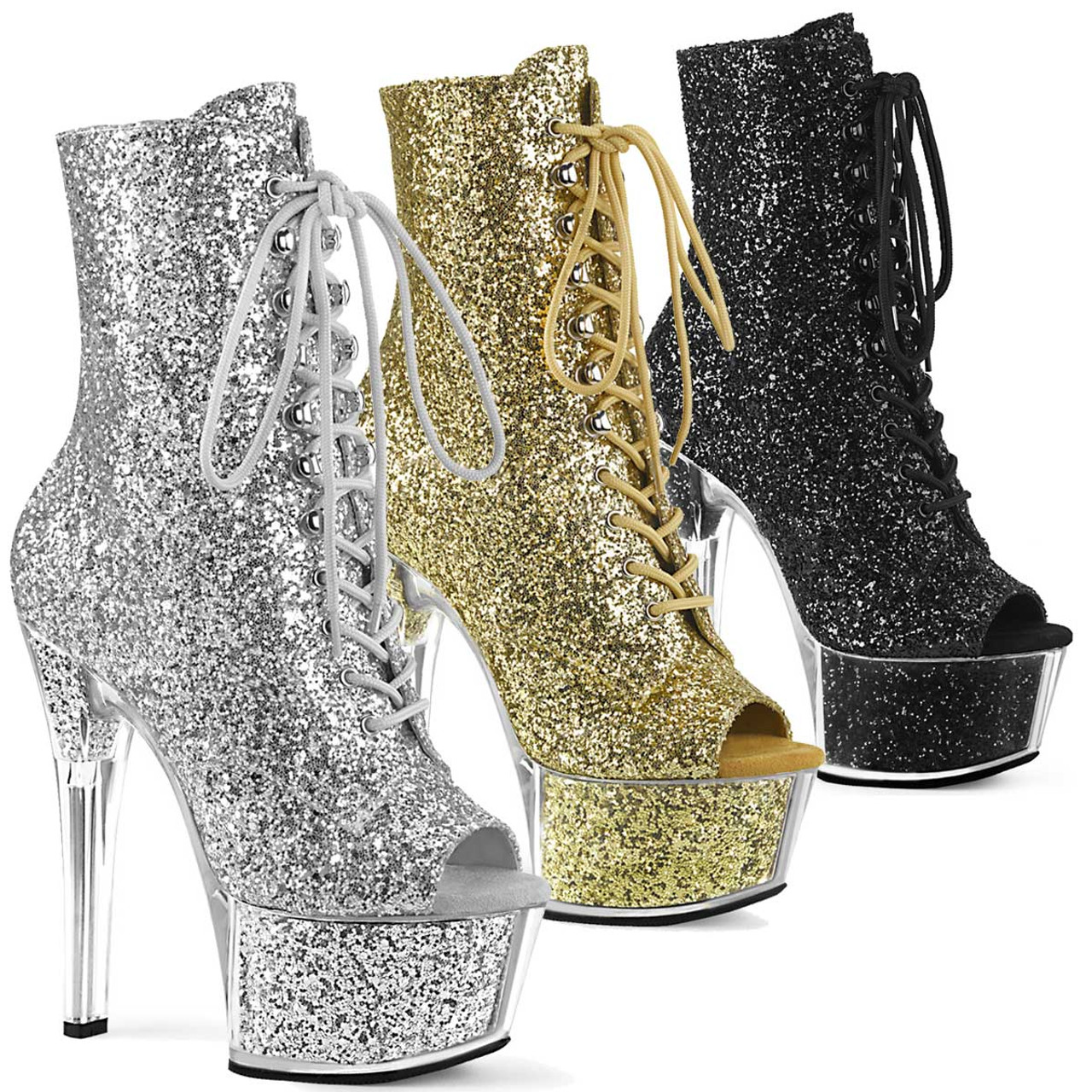 6 Inch Glitter Open Toe Ankle Boots