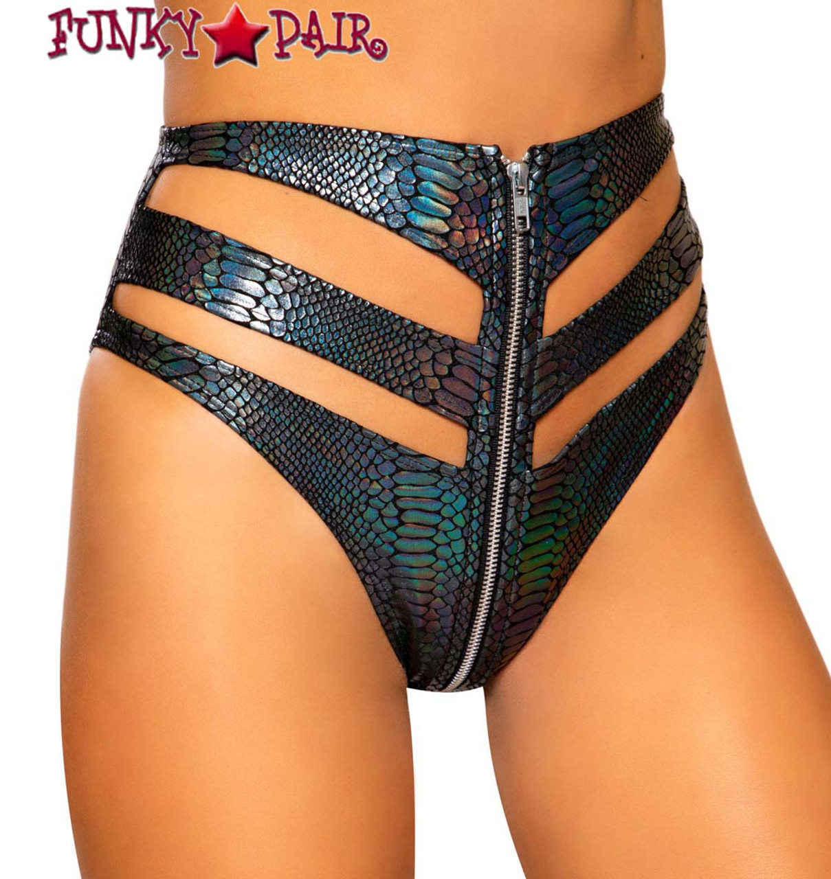 Roma Costume Multi Colored Snake Skin High Rise High-Waisted Shorts with Belt Detail
