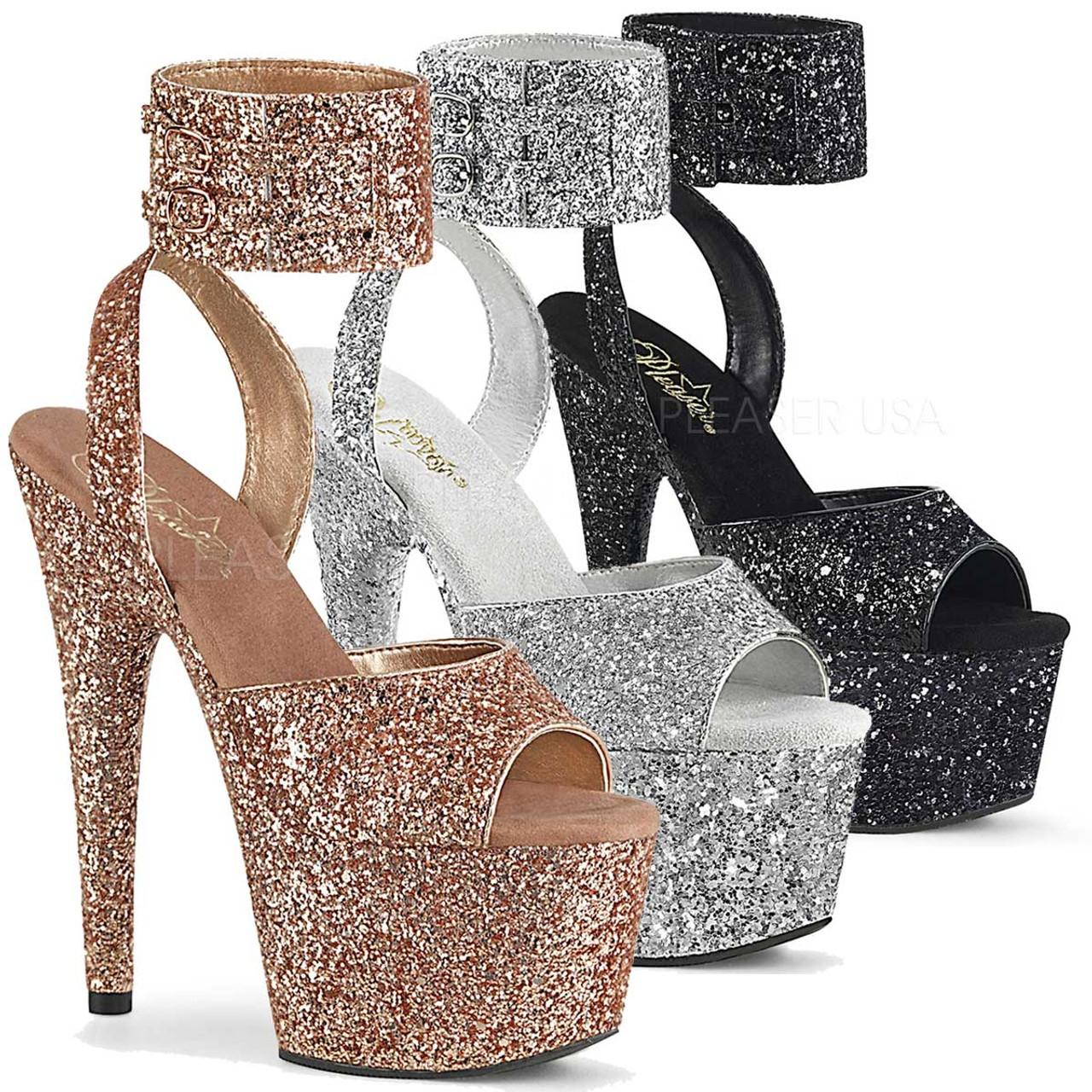 7 Inch Glitter Ankle Cuff Sandal