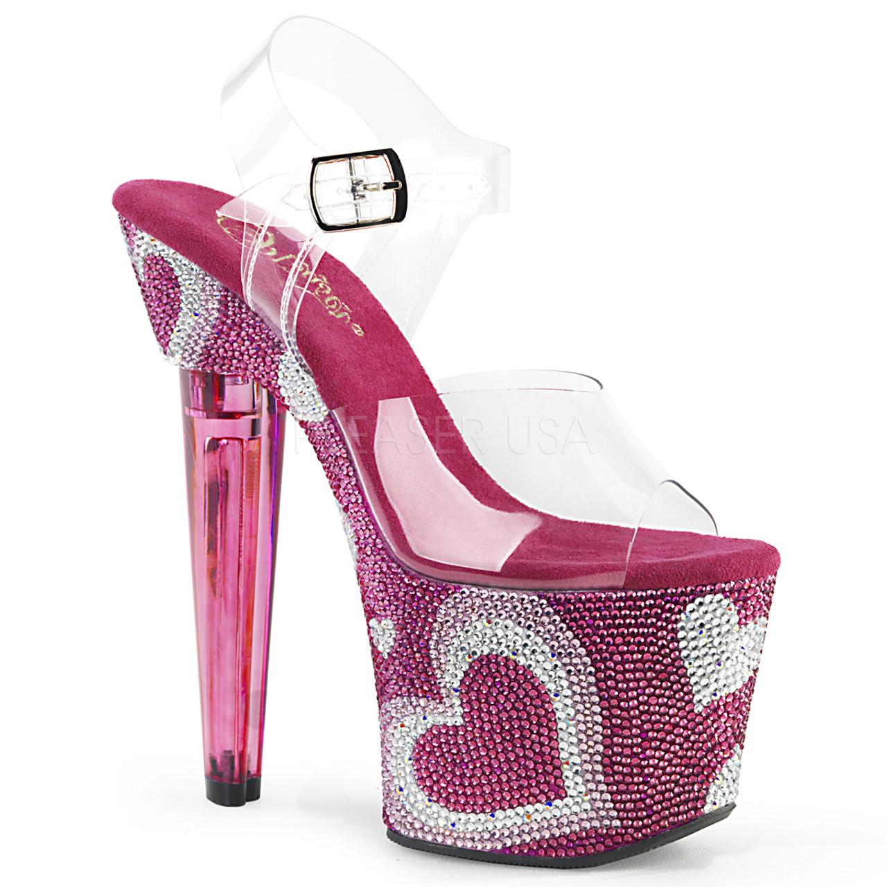 69eed9ef906 Stripper Shoes | LOVESICK-708HEART, Ankle Strap Platform with Heart  Rhinestones