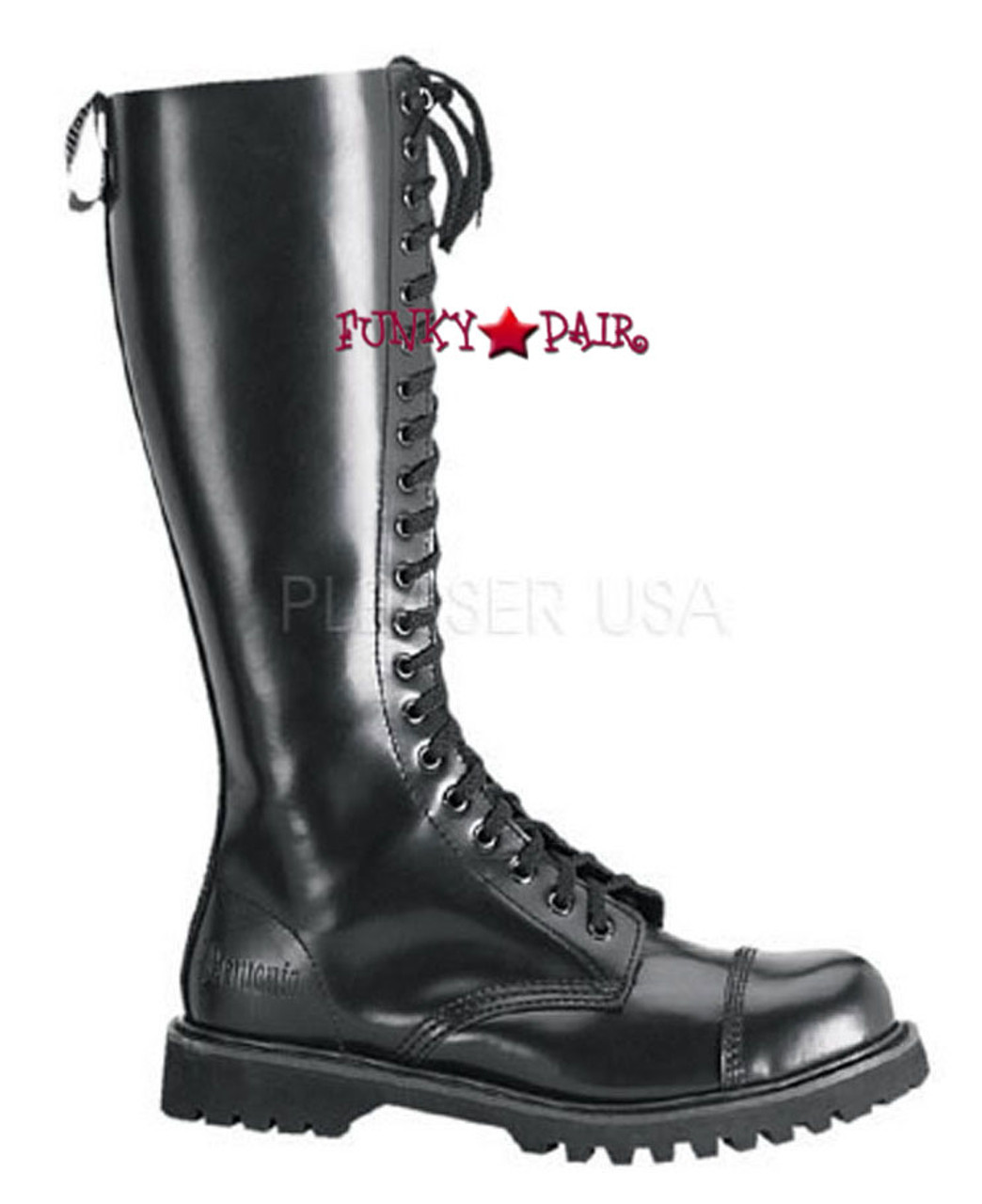 f746c148c46 Black Leather Steel Toed Boots   ROCKY-20 Made by Demonia