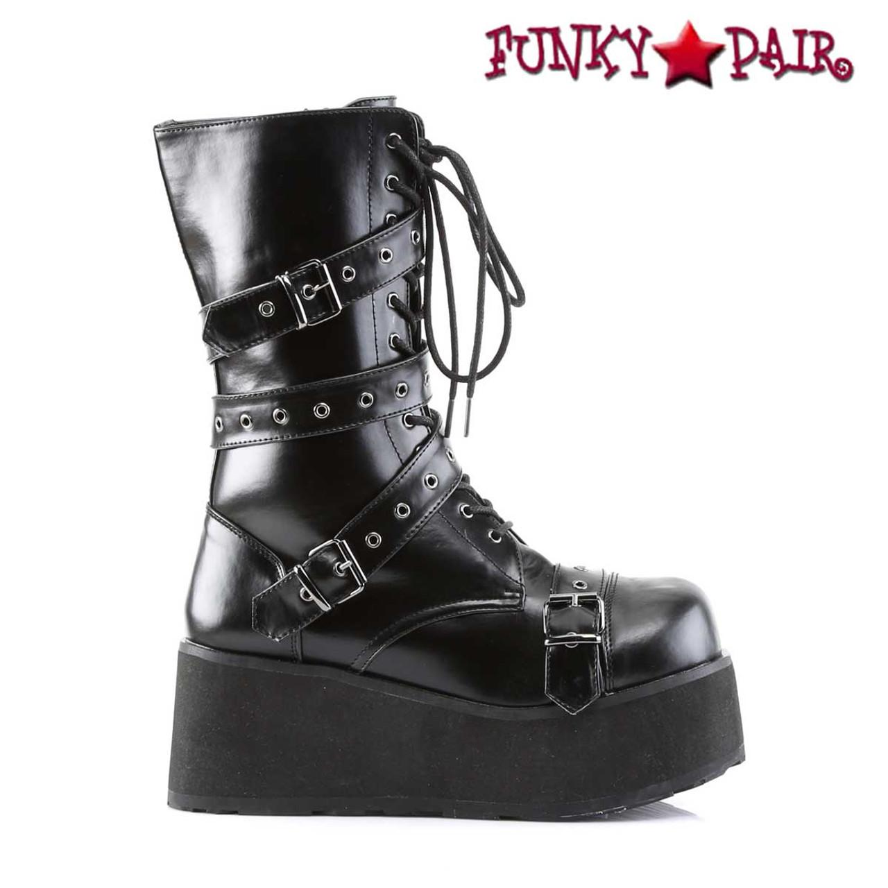 """Demonia Black 3.25/"""" Platform Strap Gothic Rock Boots 4 5 6 7 8 9 10 11 12 13"""