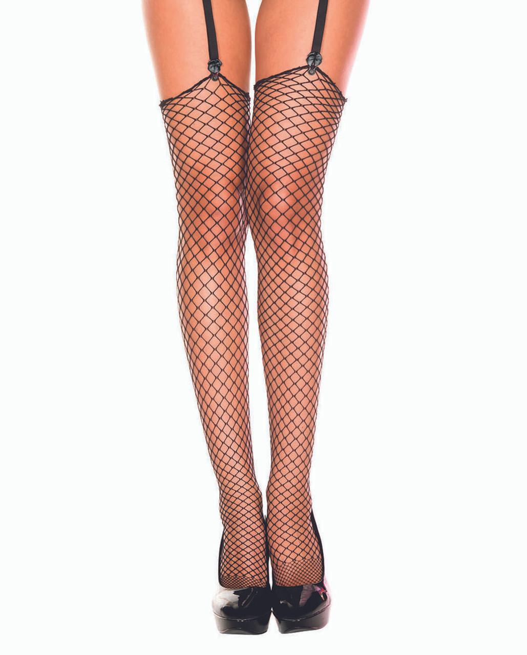 New Music Legs 4991Q Plus Size Fishnet Thigh High Stockings