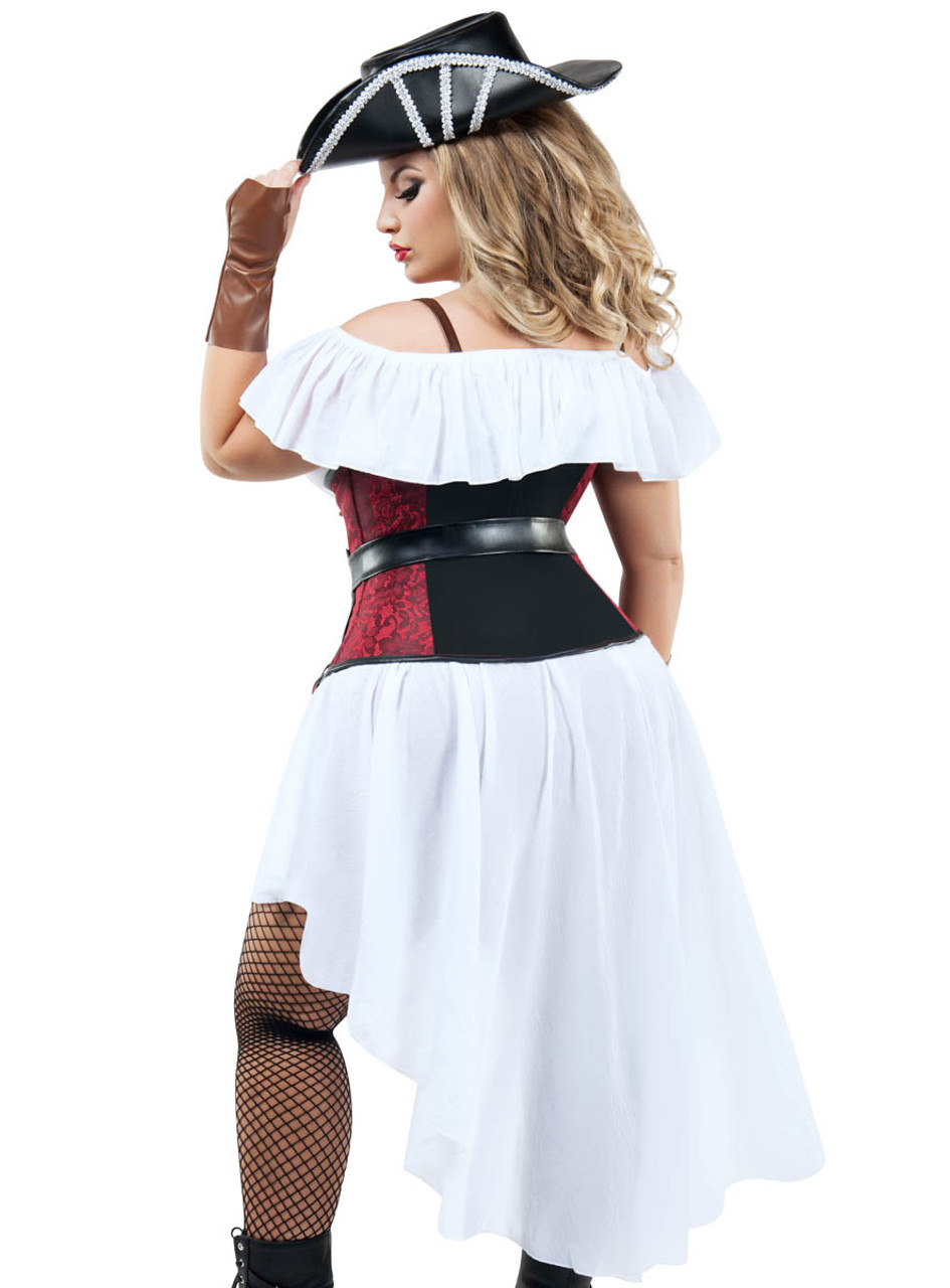 High Seas Pirate fancy dress costume Womens Red Black Outfit plus size 22-24
