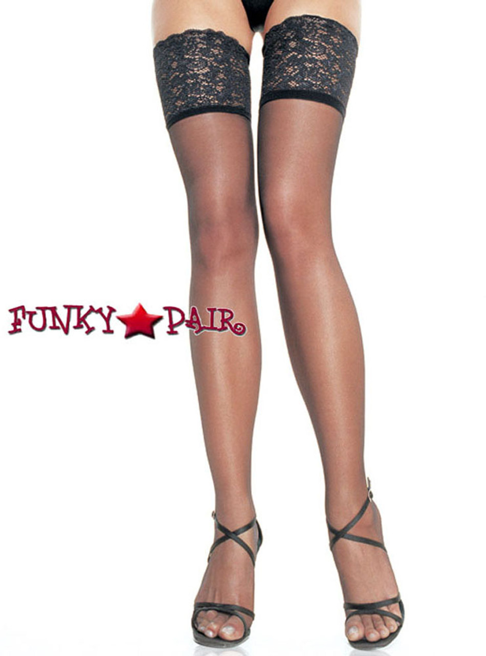 80275c73442ce Black Silicone Stay Up Sheer Stockings   Leg Avenue (9750)