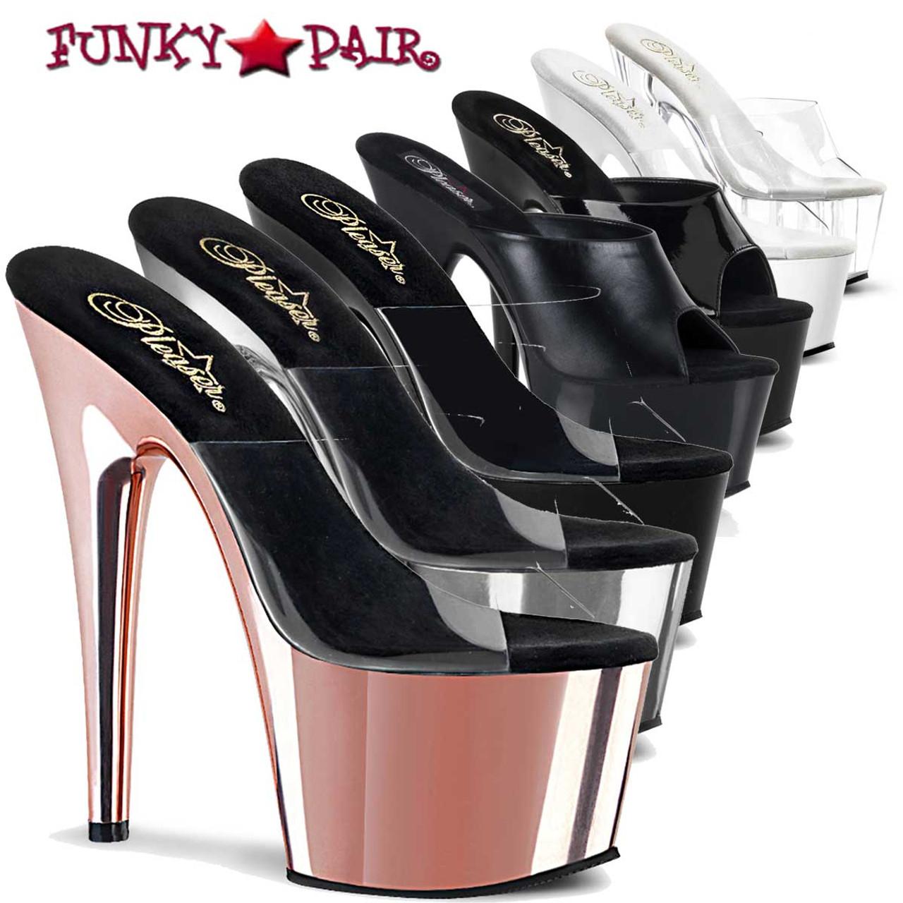 Pleaser Adore-701 Ladies Platform Mules Clear White Pole Dance Shoes Stripper