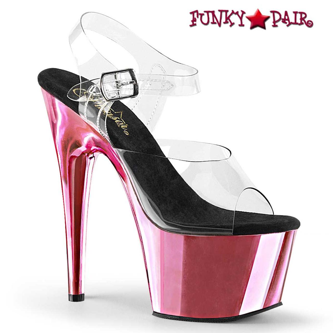 Pleaser High Heel Clear Ankle Strap Sandal Platform Shoes Adore 708uv Neon Pink 8
