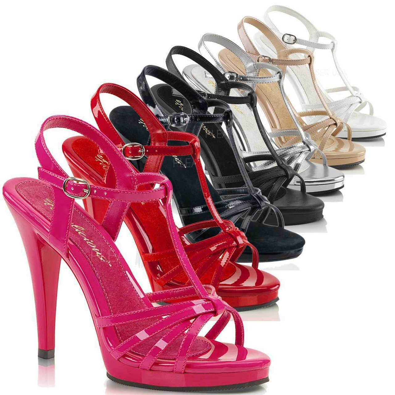 """FABULICIOUS Flair-436 4 1//2/"""" Heel Ankle-Strap Sandal"""