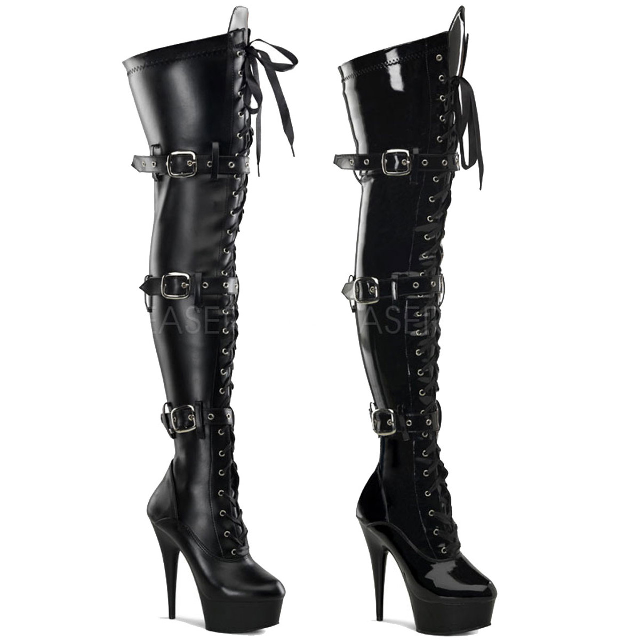 732738cc89f Pleaser | DELIGHT-3028, Platform Buckle Platform Thigh High Boots