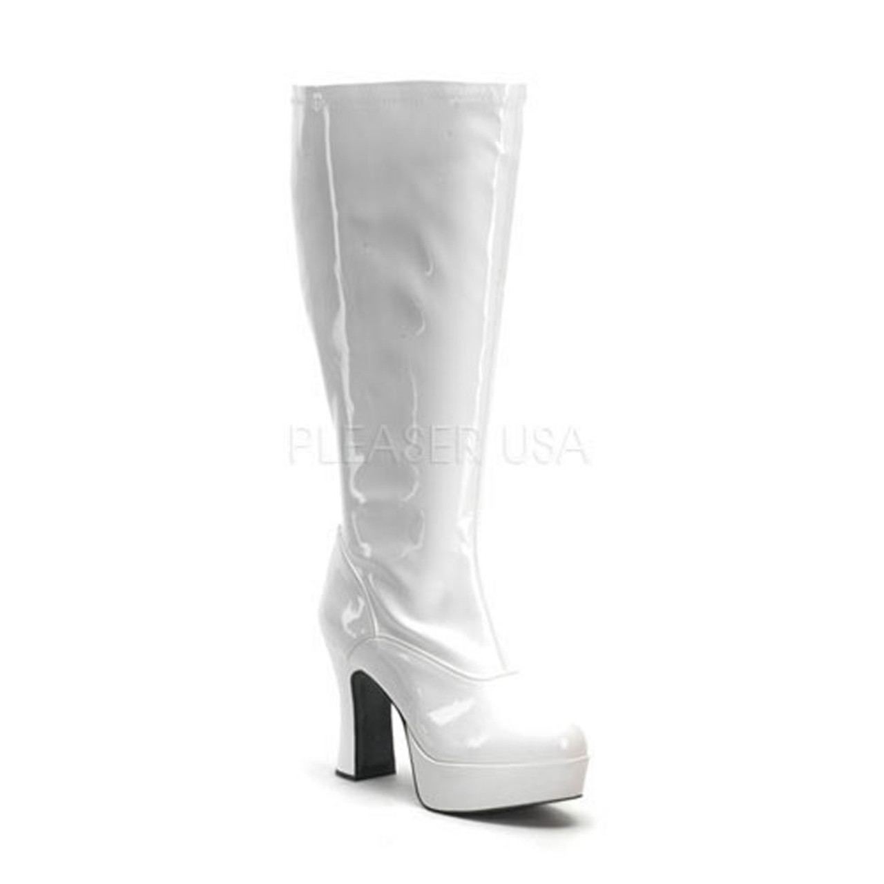 8abff7961a90 White Wide Width and Calf Platform Gogo Boot