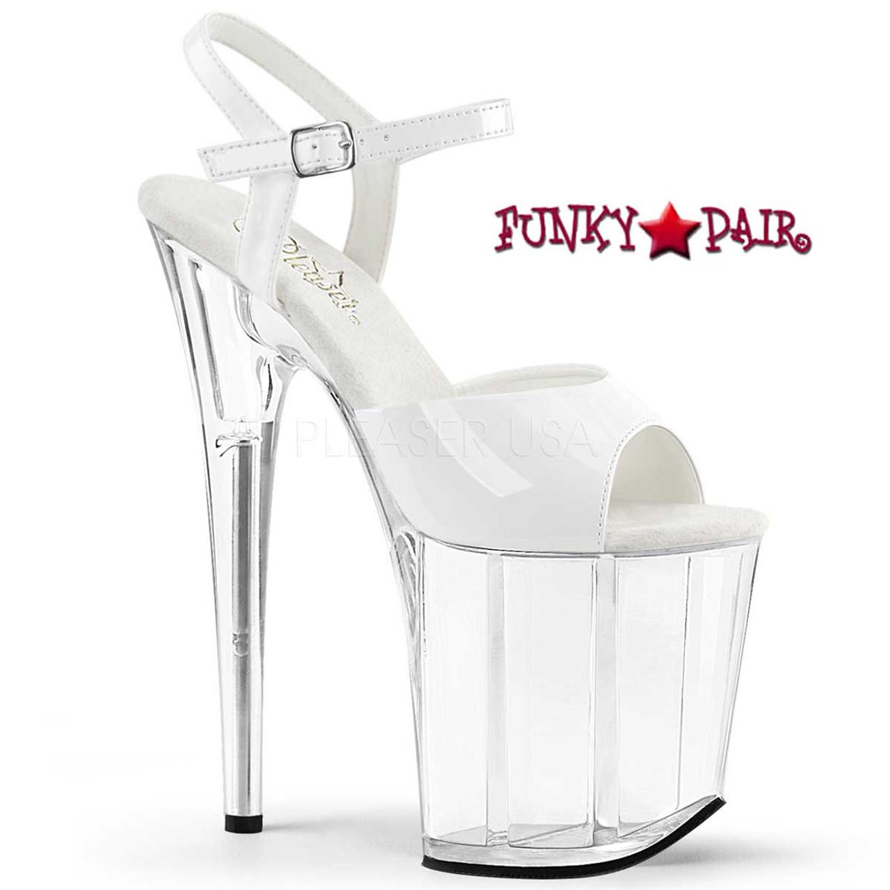 "Details about  /8/"" Black Silver Chrome Platform Stripper Dancer Heels Shoes Pleaser Flamingo-809"