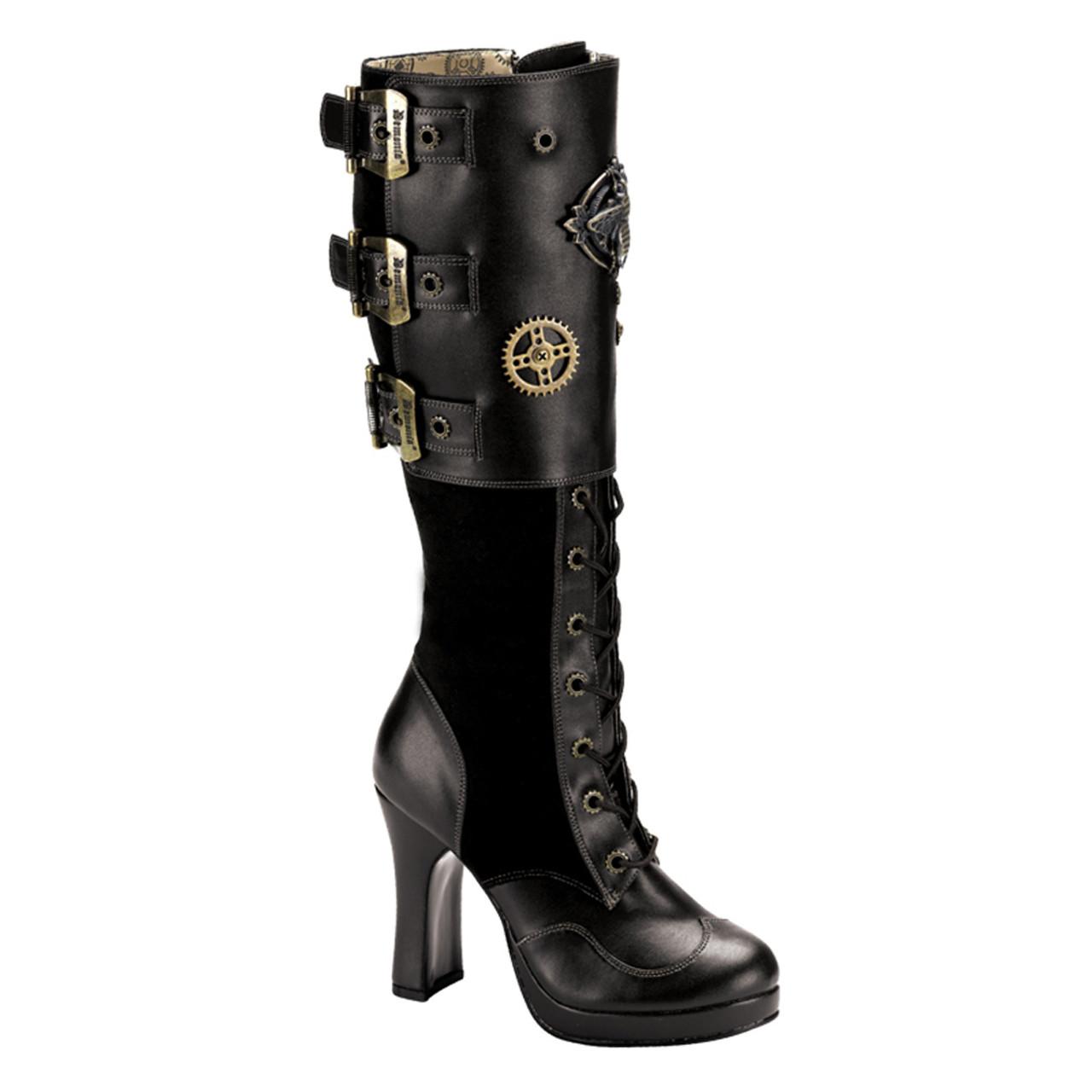 "Demonia 3.75/"" Heel Black Gothic Steampunk Calf Buckle Boots 6 7 8 9 10 11 12"