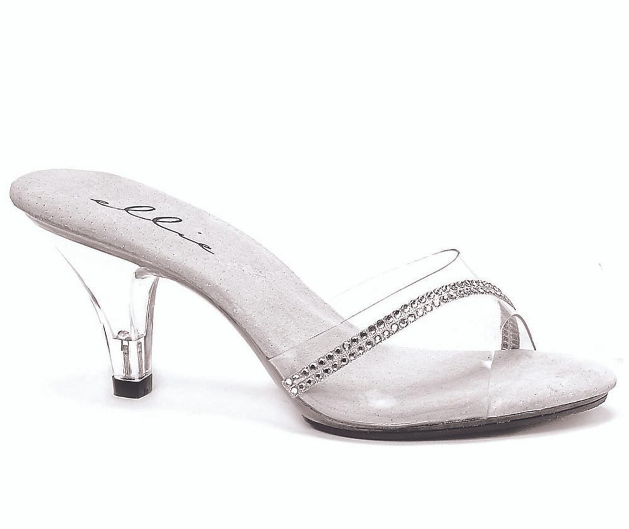 Ellie Shoes 305-JESSE 3 Inch Heel Clear Mule Women/'s Size Shoe With Rhinestones