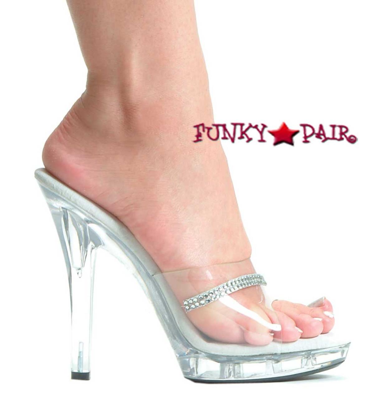 M-Jesse, 5 Inch High Heel Clear Wedding Shoes W/rhinestones