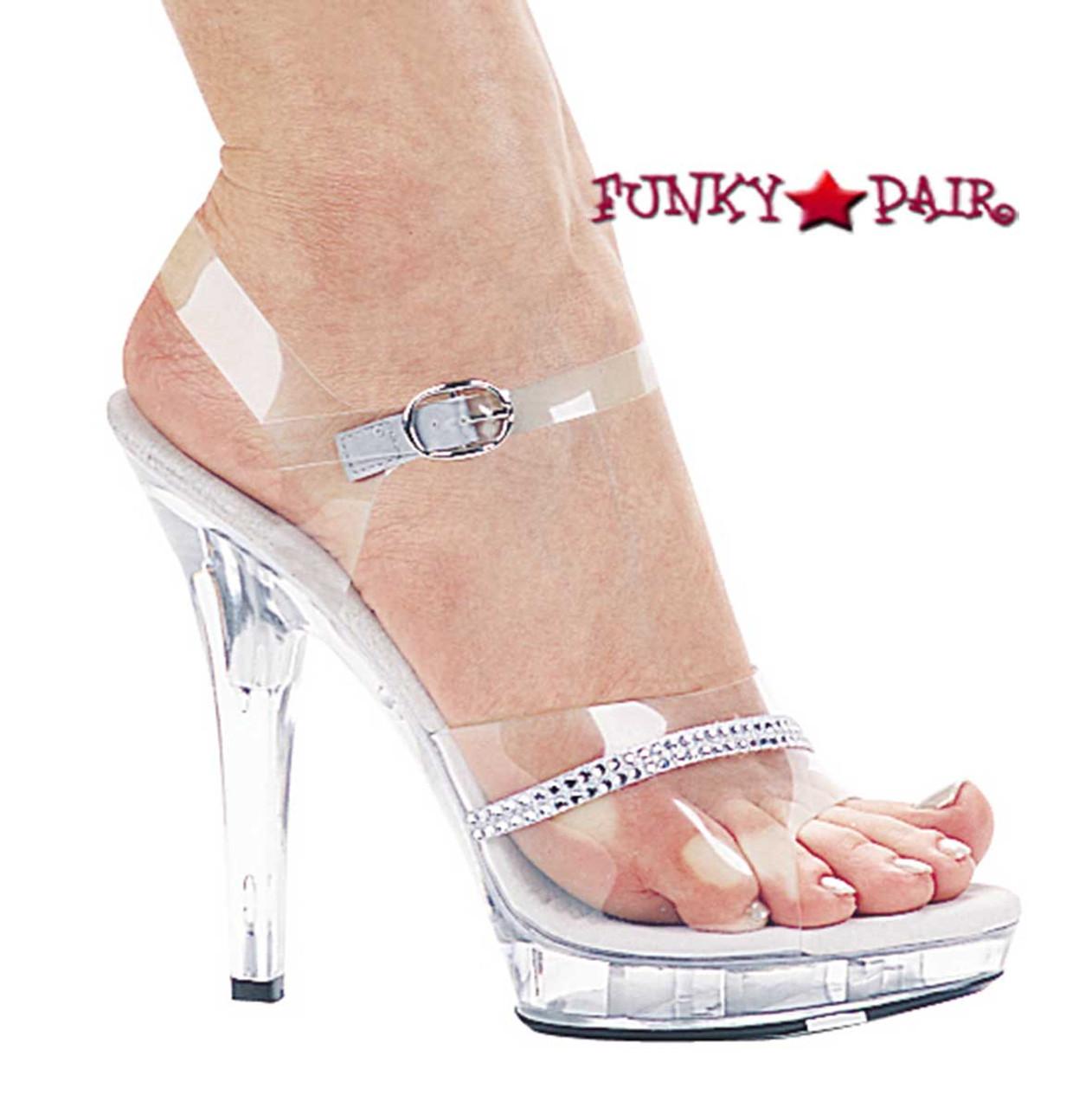 M-Jewel, 5 Inch High Heel With 3/4 Inch Platform Clear