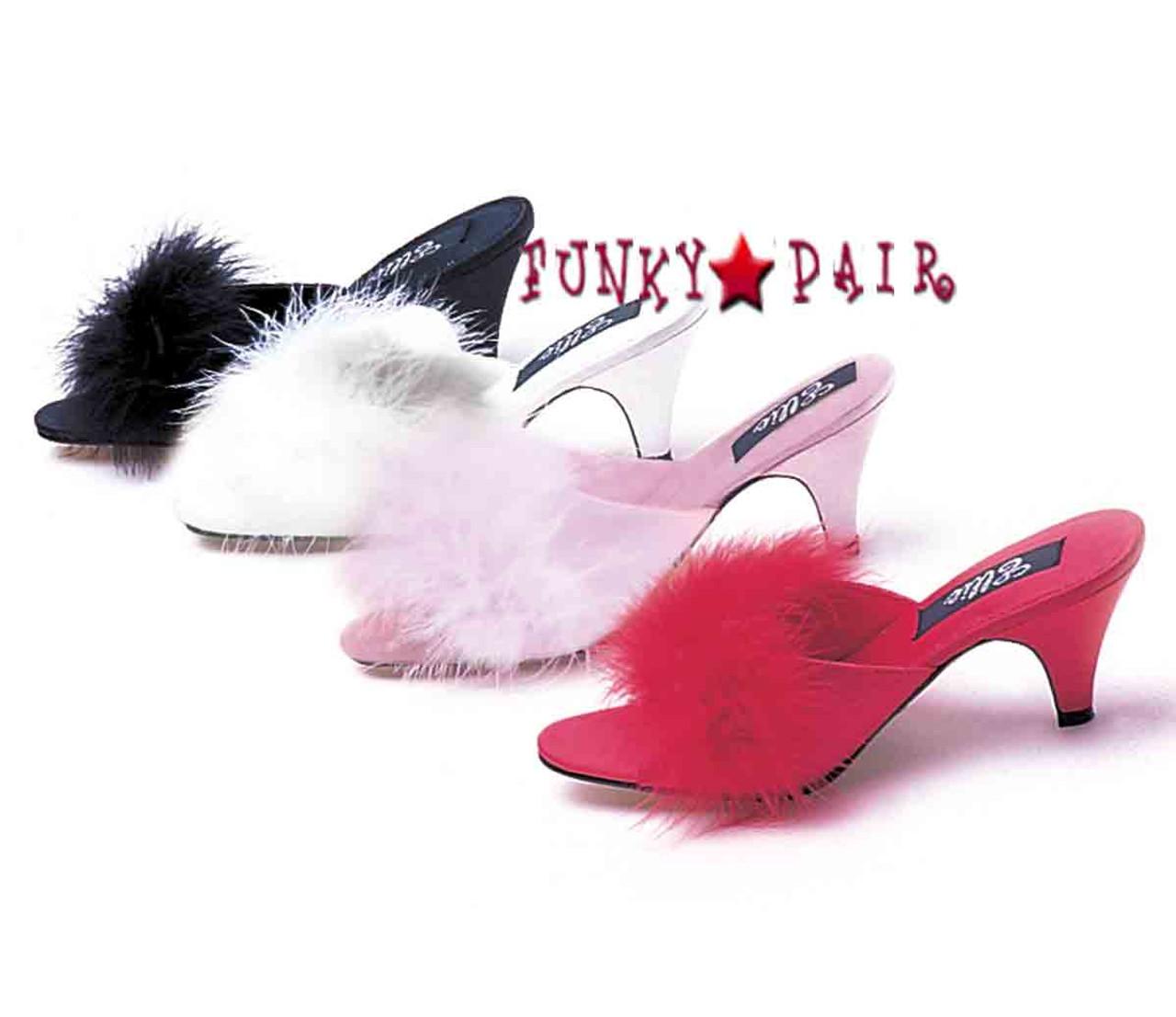 Fabulicious Amour-03 Ladies Satin Pink Fur Marabou Slippers Kitten Heel Sandals