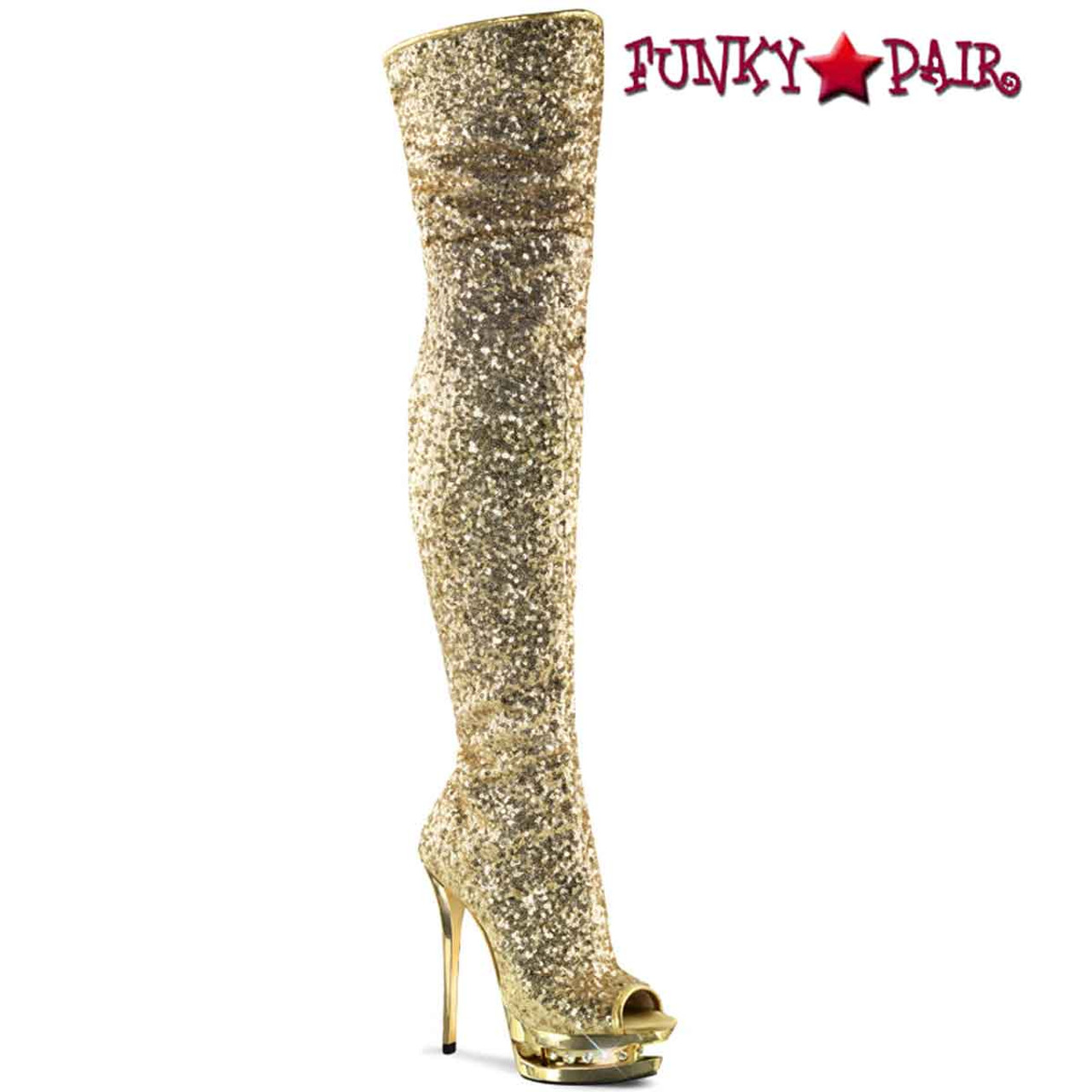 6 Inch Thigh High Sequin Boots by Pleaser
