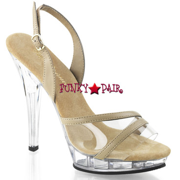 Pleaser | Lip-137, Clear and Tan Slingback High Heel