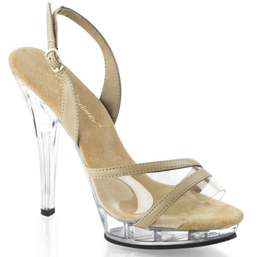 "Lip-137, 5"" Clear and Tan Dressy Sandal For Wedding 