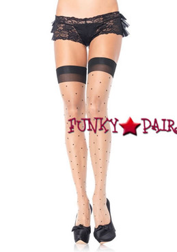 1929Q, Polka Dot Thigh High Stocking