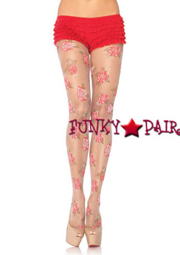 7288, Sheer Rose Print Pantyhose