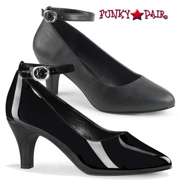 Divine-431, Block Heel Ankle Strap Pump Size 9-16 by Pink Label