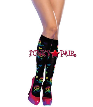5208, Rainbow Skull and Bones Knee Highs