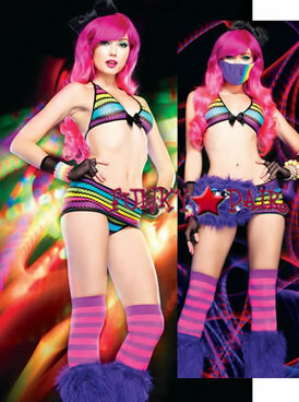28122, Rainbow Net Bikini Skirt Set