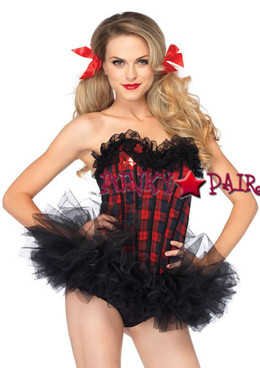 2637, Easy A School Girl Corset color red plaid