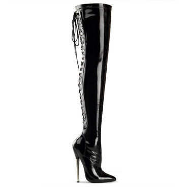 Dagger-3063, Lace Back Thigh High Boots