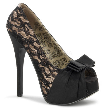 Teeze-28, Peep Toe Pump with Bow Detail Bordello Shoes
