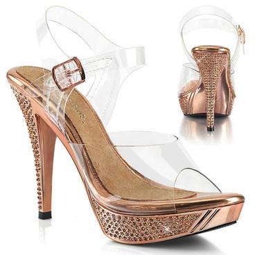 """Fabulicious   Elegant-408, 4.5"""" Rose Gold Rhinestones slide"""