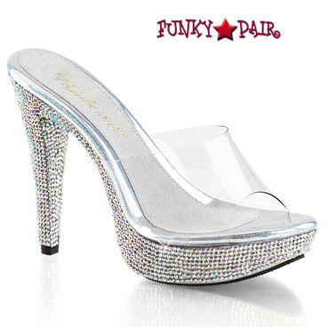 "Pleaser | Cocktail-501DM, 5"" Clear Slide Shoes with Rhinestones Platform"