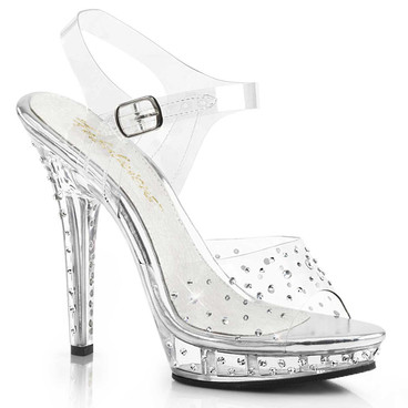 Lip-108RS, Rhinestone Ankle Strap Clear Sandal by Fabulicious