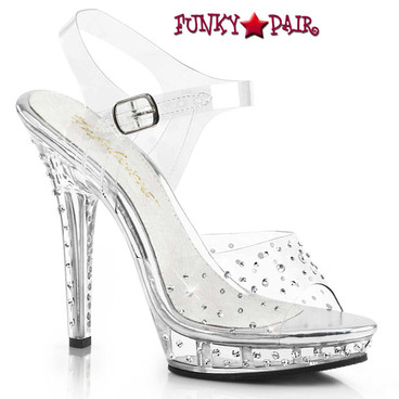 Pleaser Lip-108RS, Rhinestone Ankle Strap Clear Sandal