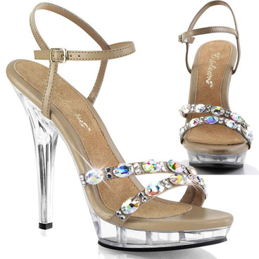 "Lip-133, 5"" Ankle Strap Sandal with Rhinestones 