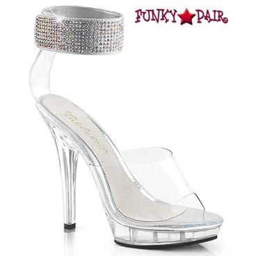 Pleaser Lip-142, 5 inch clear high heel with rhinestones ankle cuff