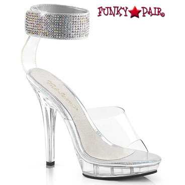 Pleaser Lip-142, 5 inch clear high heel with rhinestones ankle cuff