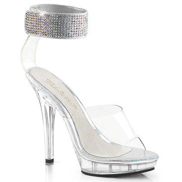 Lip-142, 5 inch clear high heel with rhinestones ankle cuff by Fabulicious