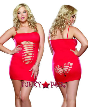 DG-8650X, Heart Back Plus Size Mini Dress