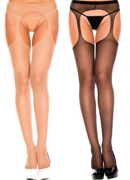 ML-803Q, Plus Size Suspender Pantyhose by Music Legs