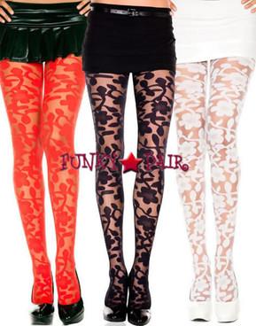 ML-7344, Woven Floral Design Pantyhose