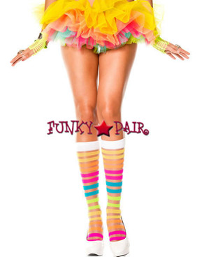 Music Legs, ML-5526, Rainbow Striped Knee Hi