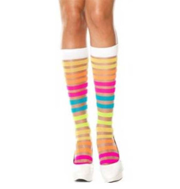 ML-5526, Rainbow Striped Knee Hi by Music Legs