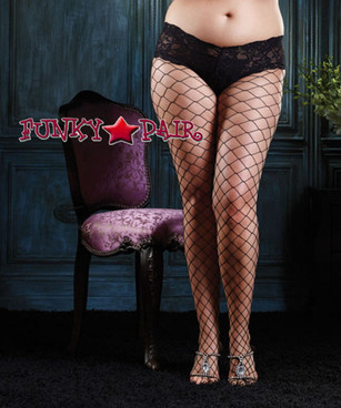 Black Plus Size Fence Net with Boyshort (1278Q)
