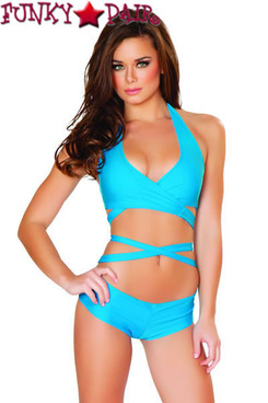 J Valentine | SF131, Halter and Short Set color turquoise