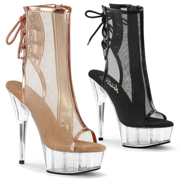 Pleaser | Delight-1018MSH, 6 Inch Mesh Pole Dancer Ankle Bootsie