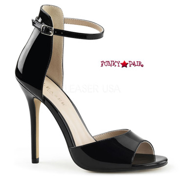 Clearance Amuse-14, 5 Inch Stiletto Heel Close Back Ankle Strap by Pleaser USA