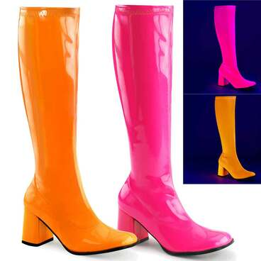 GOGO-300UV, UV Neon Go Go Boots | Funtasma
