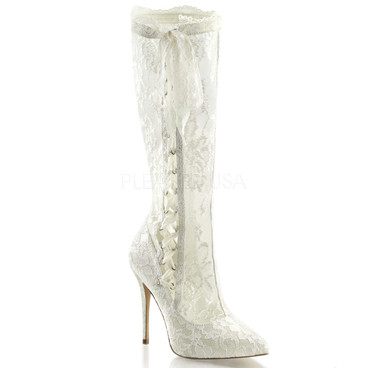 Pleaser | Amuse-2012 Stiletto Heel Lace Knee High Boots